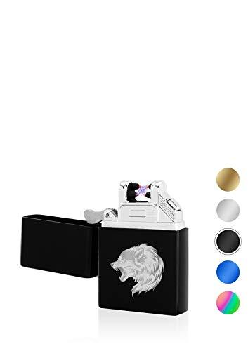 TESLA Lighter T03 elektronisches Lichtbogen Feuerzeug, personalisiert als Geschenk zu Weihnachten, Geburtstag, wiederaufladbar per USB inkl. Geschenkverpackung, Schwarz inkl. Motiv Wolf