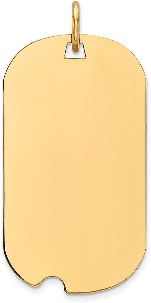 14k Yellow Gold Plain .027 Gauge Engraveable Dog Tag Notch Disc Pendant (L- 29 mm, W- 15 mm)