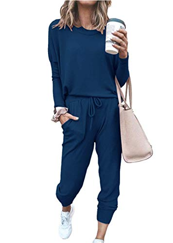 PRETTYGARDEN Women's Casual Two Piece Outfit Long Sleeve Crewneck Pullover Tops And Long Pants Sweatsuits Tracksuits(Dark Blue,Medium)