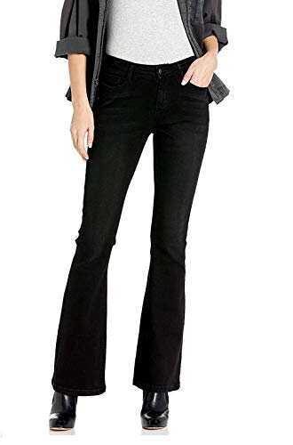 Wax / Jack David Jeans Womens Juniors 70s Trendy Slim Fit Flared Bell Bottom/Bootcut Denim Jean Pants (CEST TOI Black Faded CTB584, 11)