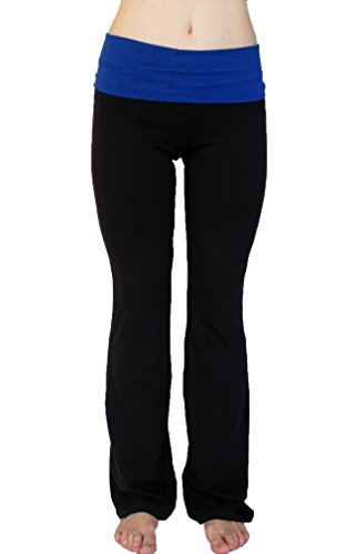 Popular Basics Women's Cotton Yoga Pants With Fold Down Waist (XX-Large, Black)
