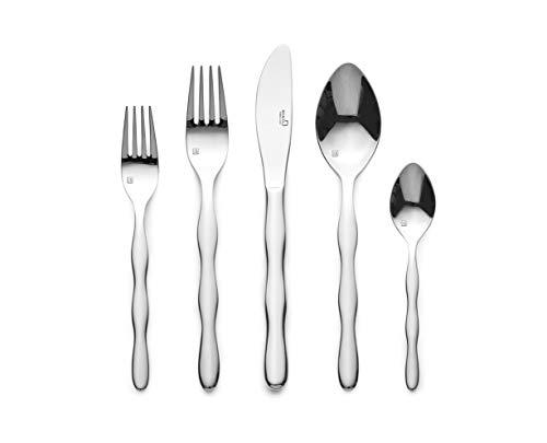 Daelim Bonita Wave 20pcs Flatware Cutlery Set, Service for 4, Solid Stainless Steel, Dishwasher Safe, Ergonomic Design and Size