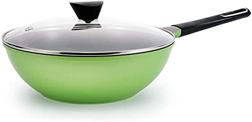 TINGFENG Wok Sartén para el hogar Sartén antiadherente Horno seguro Caja fuerte y saludable Gigante Wok Cookware No hay humo de aceite (Color : Green)