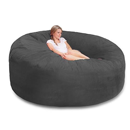 JJZXT Giant Sude Soft Bean Bag Funda de sofá, Muebles de Sala de Estar Fiesta Ocio Gigante Grande Redondo Suave cojín de imitación Esponjoso