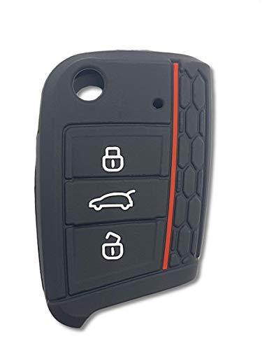 Shoppy Lab - Carcasa protectora de silicona blanda compatible con llave de 3 botones plegable para coche, Volkswagen Golf, Polo, Passat, Touran Tuareg (negro y rojo)