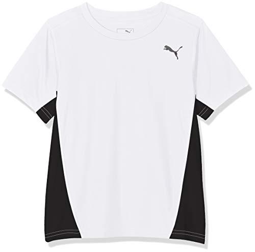 PUMA Jungen Cross The Line Tee T-Shirt, White Black, 164