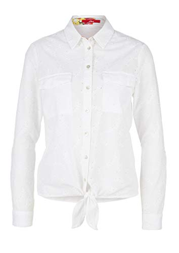 s.Oliver Damen Langarm Bluse, White Embroidery, 38