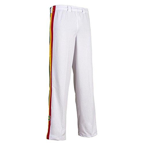 JL Sport Unisex Bianco Reggae Righe Capoeira Arti Marziali Abada Elastico Pantaloni - XL