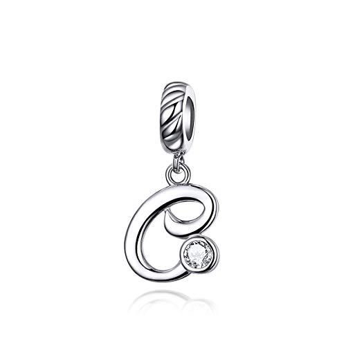 Abalorios colgantes con letra C de cristal transparente para pulsera Pandora