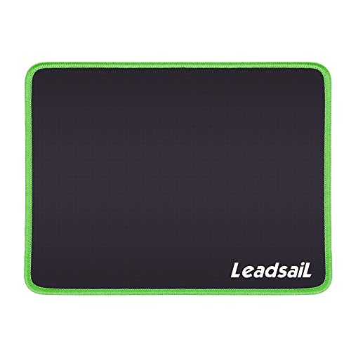 LeadsaiL Mouse Pad with Stitched Edge, Premium-Textured Mouse Mat, Non-Slip Rubber Base, Waterproof Mousepad, for Laptop, Computer & PC, 10.6×8.3×0.15 inches (Green)