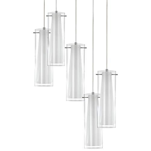 Preisvergleich Produktbild EGLO Pendellampe Pinto,  5 flammige Pendelleuchte,  Material: Stahl,  Farbe: chrom,  Glas: klar,  opal matt,  weiß,  Fassung: E27