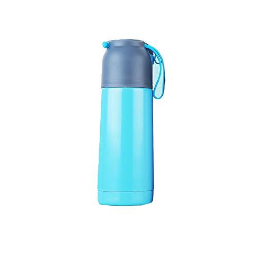 DILU Vacuüm thermosfles met siliconen touw voor gemakkelijk dragen antislip en lekvrij dubbele zijisolatie, geschikt voor studenten, hete koffie, outdoor reizen (volume: 500ML), Blauw