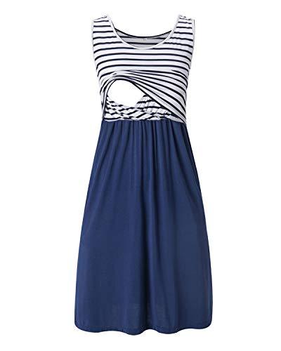 Love2Mi Damen Umstandskleid Streifen Stillkleid Ärmellos Schwangere Sommerkleid-Weißer Streifen / Marineblau-XL