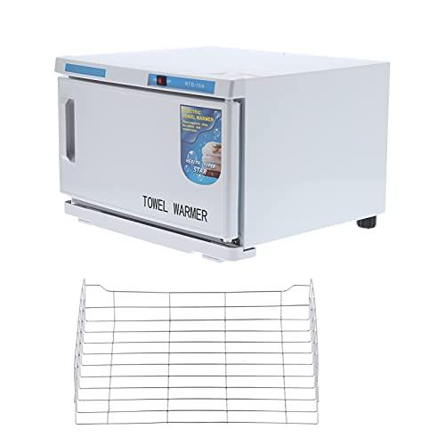Caja de calentamiento de toallas de 16L, control de temperatura de calentamiento de toallas húmedas de acero inoxidable Bombilla UV Calentador de toallas de spa para salón de belleza de hotel EU 220V