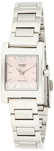 Reloj de cuarzo con esfera rosa, de acero inoxidable plateado, de mujer, LTP1283D-4AV Casio
