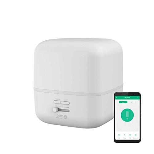 SPC Nerta Aroma-diffuser, luchtbevochtiger, luchtreiniger en Smart wifi-nachtlampje (400 ml, 11-26 uur levensduur, 7 kleuren, afstandsbediening via app)