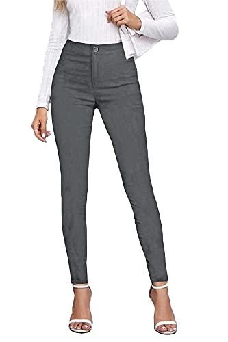 femiss Pantalon d'école pour filles, adolescentes, universitaire, pour le travail, le bureau - Noir - Coupe ajustée, gris, 36 Court