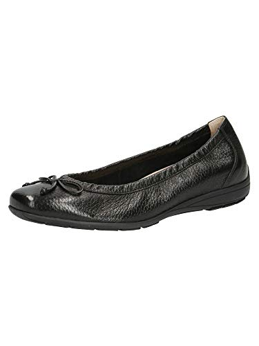 CAPRICE 9-9-22106-26, Zapatos Tipo Ballet Mujer, Piel Negra, 38 EU
