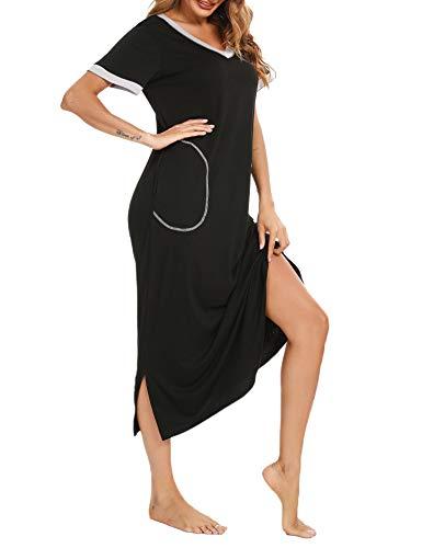 Doaraha Camisones Largos Mujer Camisón Suave Vestido Pijama Ropa de Dormir con Bolsillo Algodón Talla Grande Verano Cuello en V Manga Corta Loungewear (Negro, M)