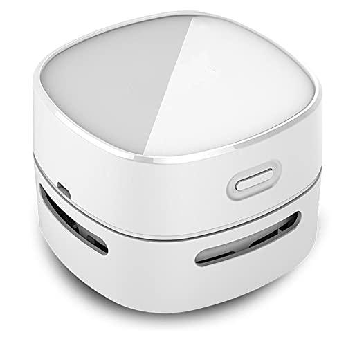 otutun Mini Tischsauger, Akku Handstaubsauger USB Mini Staubsauger 360° Drehbar Tischstaubsauger für Reinigung Krümel, Mini Handstaubsauger für Desktop, Haushalt, Büro und Auto(Weiß)