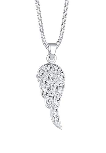 Elli Halskette Elli Damen Halskette mit Flügel Anhänger in 925 Sterling Silber Swarovski Kristall 45 cm lang