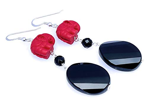 Red cinnabar earrings with black onyx, 925 sterling silver, gemstone jewellery, oriental style, root chakra, gift for her