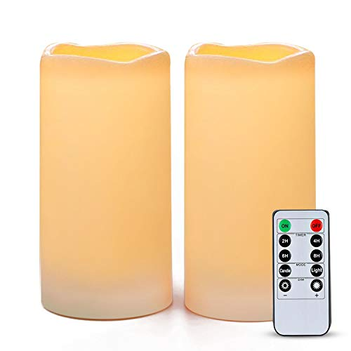 Amagic 6' x 3' Outdoor Waterproof Flameless Candles - Set of 2, Battery Operated LED Pillar Candles with Remote Control and Timers, Ivory, Plastic