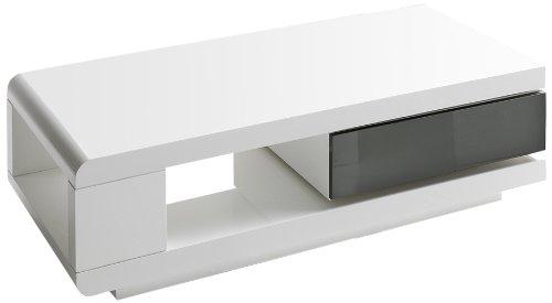 Robas Lund Couchtisch Weiß Hochglanz Wohnzimmertisch drehbar 360 Grad drehbar, BxHxT 120 x 36 x 60 cm