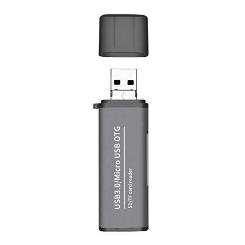 A0127 - Lector de Tarjetas de Metal, 2 en 1, Tarjeta de Memoria USB 3.0 / Micro USB a SD/Micro SD Tablet para teléfono móvil Samsung Macao Xiaomi para MacBook Gris Gris