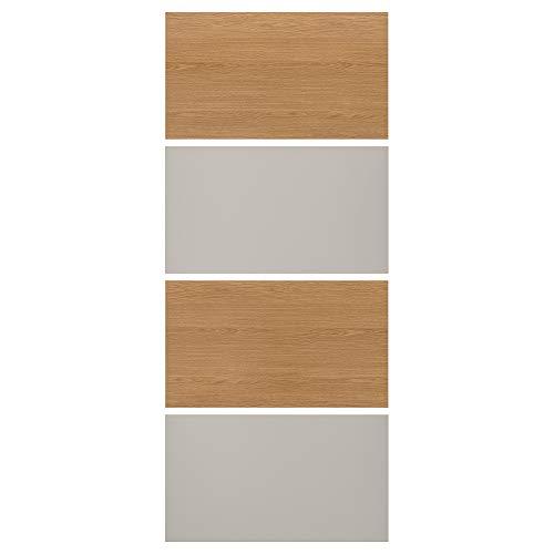 MEHAMN fyra paneler för skjutdörr 100 x 236 cm ekeffekt/ljusgrå