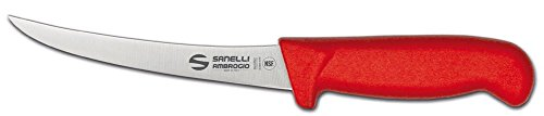 Sanelli Ambrogio S301.015R Ambrogio Sanelli-Supra Coltello Disosso Curvo. Manico Ergonomico in Polipropilene, Colore: Rosso. Lama: Curva, in Acciao Nitro-B Inox all'azoto. Cm: 15, Stainless Steel