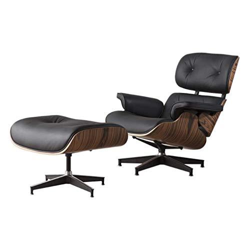 Recliner Lounge Chair Und Ottoman, Walnuss Furnier Rahmen, Naturleder High Grade Stuhl Mit Fuß Hocker Für Office (Black Walnut),Chair + footstool