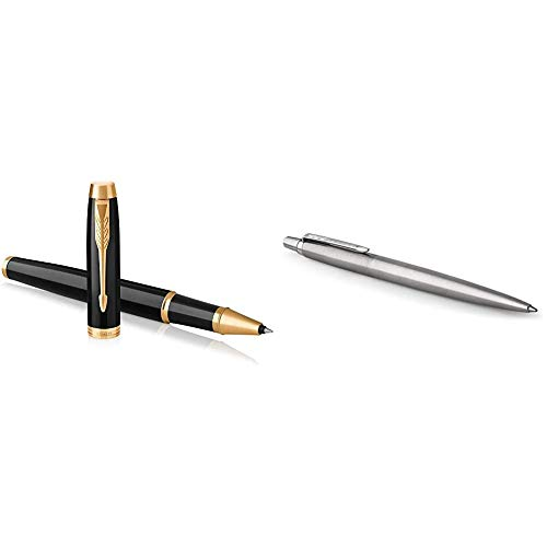 PARKER IM Rollerball Pen, Black Lacquer Gold Trim with Fine Point Black Ink Refill, Gift Box (1931659) & 1953170 Jotter Ballpoint Pen, Stainless Steel with Chrome Trim, Medium Point Blue Ink, Gift Box