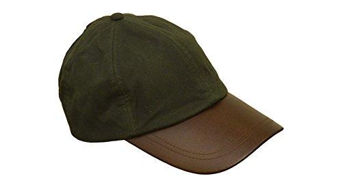 Walker and Hawkes Unisex Baseball-Kappe aus gewachster Baumwolle - Schirm aus Leder - Einheitsgröße Olivgrün