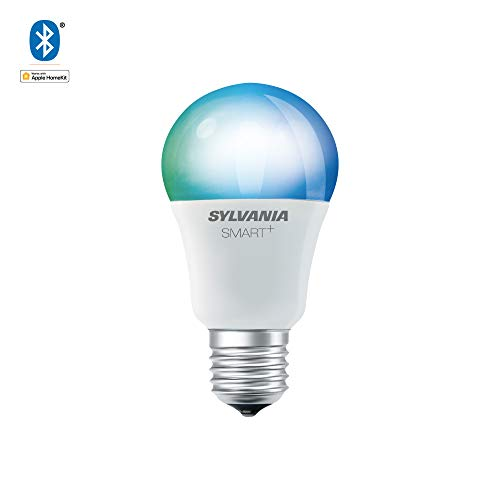 SYLVANIA General Lighting A19 LED Bulb, Works with Apple HomeKit and Siri Voice Control, No Hub Required, 74484 (Bluetooth Edition), 1 Pack, Adjustable White and Full Color
