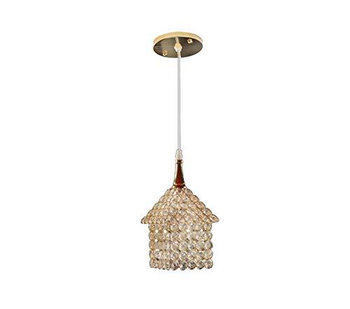 SUPERPOWER® Creatieve gouden kristallen kroonluchter verlichting ijzer kunst huis plafond hanglamp fixture met instelbare ketting voor woonkamer keuken, 1 licht