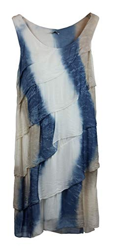 BZNA Ibiza Batik Empire Stufenkleid Sommerkleid Blau Weiß Taupe 100% Seidenkleid Bozana Sommer Herbst Seidenkleid Damen Dress Kleid elegant