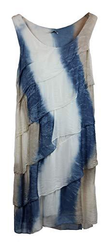 BZNA Ibiza Batik Empire Stup-Klok zomerjurk blauw wit taupe 100% zijden jurk Bozana zomer herfst zijden jurk dames jurk jurk elegant
