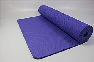 Yoga Mat Alignment Line Exercise Mat Fitness Mat TPE Material 183CM*61CM 6mm Thickness Non-Slip Comfortable Surface with Carry Bag Yoga Mat