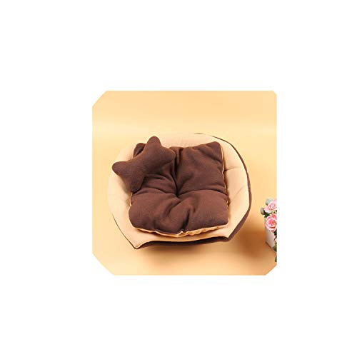 2 Uses Foldable Soft Warm Pet Cat Bed Dog Bed for Dogs Cave Puppy Sleeping Mat Pad Nest Blanket Pet Beds for Cats,Brown,55x44x38cm