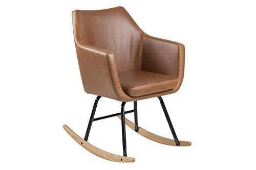 PKline stoel Norman schommelstoel Cognac PU kunstleer zwart schommelstoel stoel