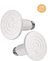BOEESPAT 100W 2 Pack Ceramic Infrared Heat Emitter Bulb, Reptile Heat Lamp Brooder Coop PetNo LightNo Harm for Pets Amphibians Hamsters Snakes Birds Poultry Chicken Coop Habitats (White)