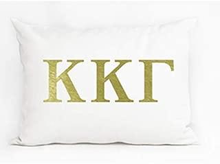 Sorority Premium Metallic Gold Logo Accent Pillow Made in USA | Perfect for Recruitment or Big sis Lil sis Gifts (Kappa Kappa Gamma)