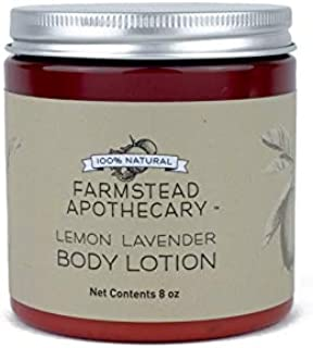 Farmstead Apothecary 100% Natural Body Lotion with Organic Safflower Oil, Organic Sunflower Oil & Organic Vitamin E Oil, Lemon Lavender 8 oz