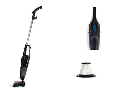 2-in-1 handstofzuiger, zakloze stofzuiger, vloerstofzuiger, cycloonstofzuiger (600 watt, HEPA-filter, kabellengte 5 m, zwart)