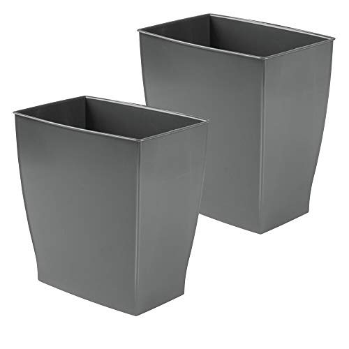 mDesign Rectangular Trash Can Wastebasket, Small Garbage Container Bin for Bathrooms, Powder Rooms, Kitchens, Home Offices - Shatter-Resistant Plastic, 2 Pack - Charcoal Gray