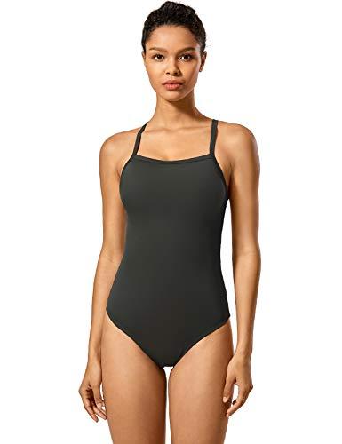 SYROKAN Women's Basic Sleek Solid Elite Training Sport Athletic One Piece Swimsuit Dark Olive 42