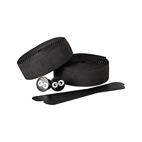 URBAN ZWEIRAD Lenkerband Rennrad mit Endkappen und Fixierband - Fahrrad Lenkerband schwarz - Lenkradband Rennrad - Fahrradlenker Tape 3mm Stärke für Gravel