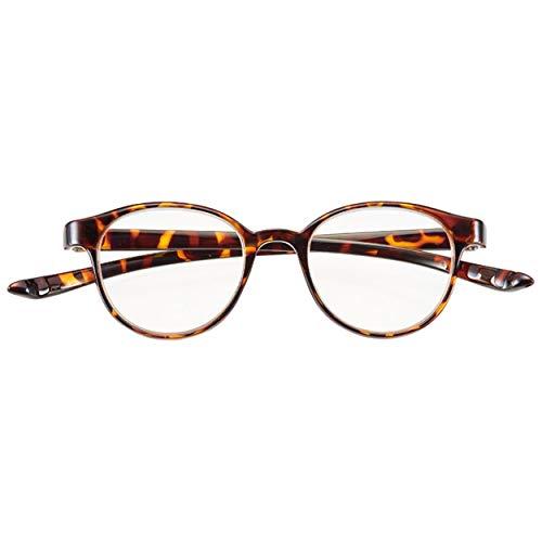 首かけ 老眼鏡 おしゃれ シニアグラス 軽量 リーディンググラス ブルーライトカット 丸型 フレーム ボストン デミ ブラウン 度数 +2.00 CACALU (携帯 便利 な ケース付き) 4940-20