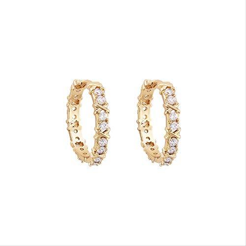 Pendientes de aro de plata para mujer con brillantes circonitas cúbicas brillantes diamantes simples diamantes de plata de ley para mujer, pendientes de oro